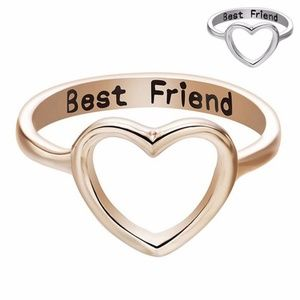 Stainless Steel Love Heart Best Friend Ring